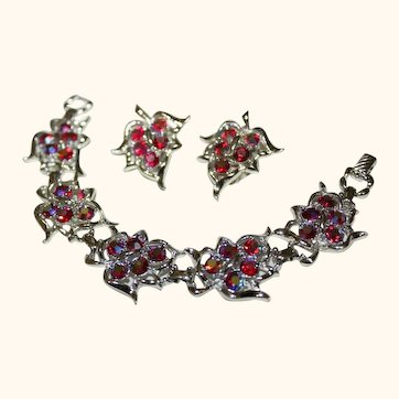 Vintage Sarah Coventry Red AB Crystals Bracelet & Earrings Set