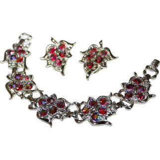 Vintage Sarah Coventry Red AB Crystals Bracelet & Earrings Set