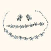 Vintage Lisner Lovely Flowers & Rhinestones Parure