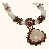 Vintage Rose Quartz Pendant and Glass Beads Necklace