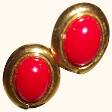 Vintage Red Cabochon Post Earrings