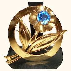 Vintage Blue Flower in Brass Pin