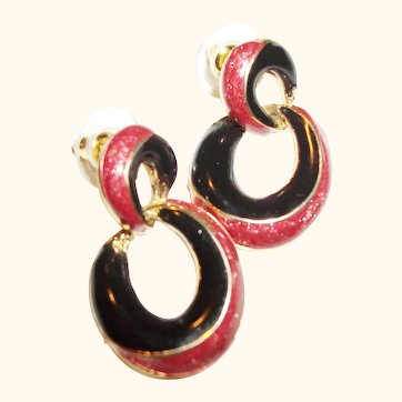 Vintage Enamel Hoops Post Earrings Plus Bonus Pair