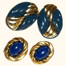 Vintage Blues #1 Set of Two Pairs Pierced Earrings with KJL Ovals