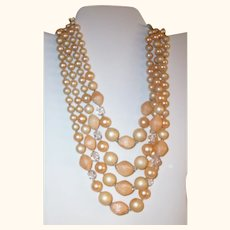 Vintage 4-Strand Peaches and Cream Lucite & Glass Necklace