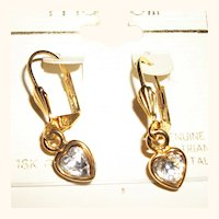 Vintage Crystal Hearts Dangling Drop Earrings