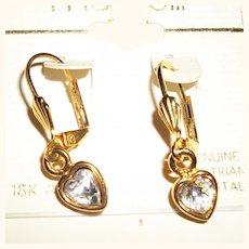 Vintage Crystal Hearts Dangling Drop Earrings