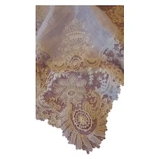 Aristocratic Brussels point de gaze lace wedding handkerchief crown