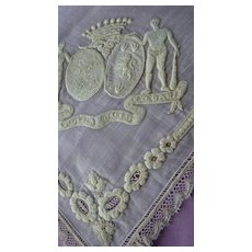 Rare Aristocratic antique French wedding handkerchief coat of arms moto crown