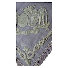 Rare Aristocratic antique French wedding handkerchief coat of arms moto crown