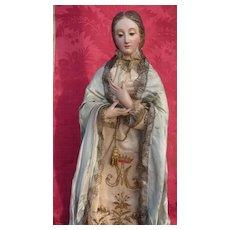 Serene antique religious Madonna statue doll wood gesso glass eyes original clothing