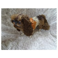 Rare 19th C. French real fur Cavalier King Charles spaniel barking toy dog Napoleon 111 period