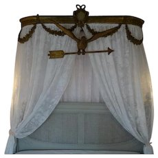 Exquisite French faded grandeur hand carved gilded gesso Dove Arrow bed canopy decoration