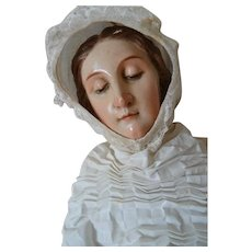 Enchanting antique Spanish religious Madonna virgin Mary statue doll wood gesso serene expression closed eyelids