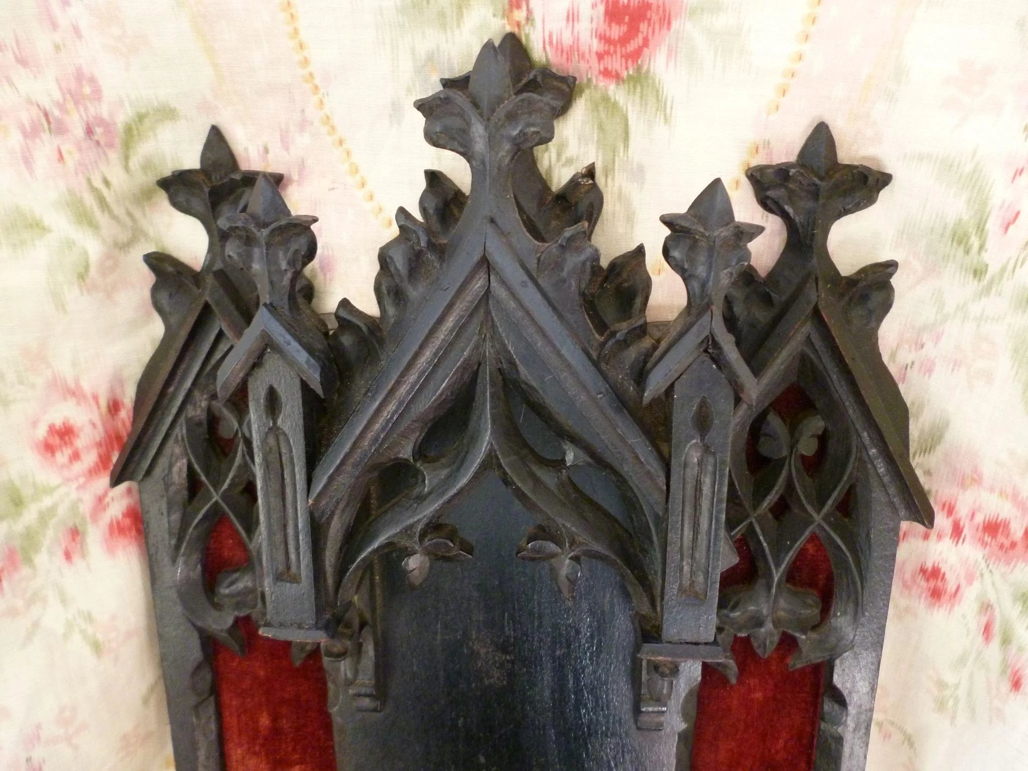 ornate antique french ebonized gothic style religious niche or display sold ruby lane. Black Bedroom Furniture Sets. Home Design Ideas