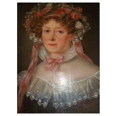 Beautiful 19th C. French portrait painting young lady : bonnet : lace : ribbons : flowers : gilt frame