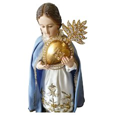 Bejeweled 19th C. French ormolu flaming sacred heart : ex voto : reliquary : paste stones : 5 5/8th inches high