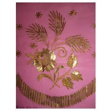Decorative antique French gilt metallic embroidered tulle sample panel : cross : roses