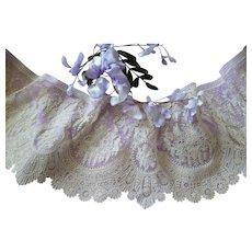 Splendid 19th C. flounce Brussels Point de Gaze lace : floral motifs : + 6 yards ( no. 2 )