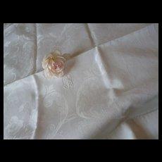 Fine pair French large matching linen damask hand towels : monogram : rose poppy motifs