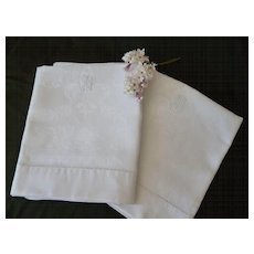 Pair fine French matching linen damask hand towels : fleur de Lys and shell motifs : monogram