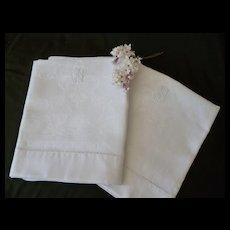 Pair fine French matching linen damask hand towels : fleur de Lys and shell motifs : monogram