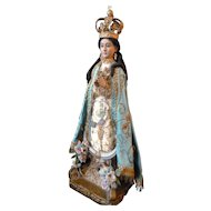 Magnificent 19th C. Spanish carved wood polychrome Santos Madonna doll  : original clothing : glass eyes