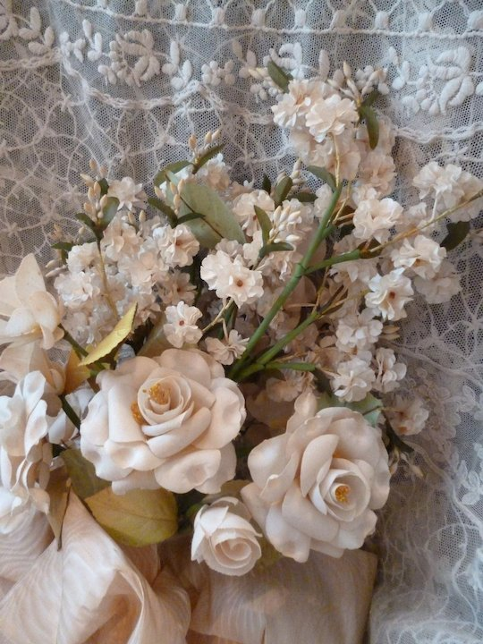 Beautiful old French artificial flower bouquet : large moire bow ...