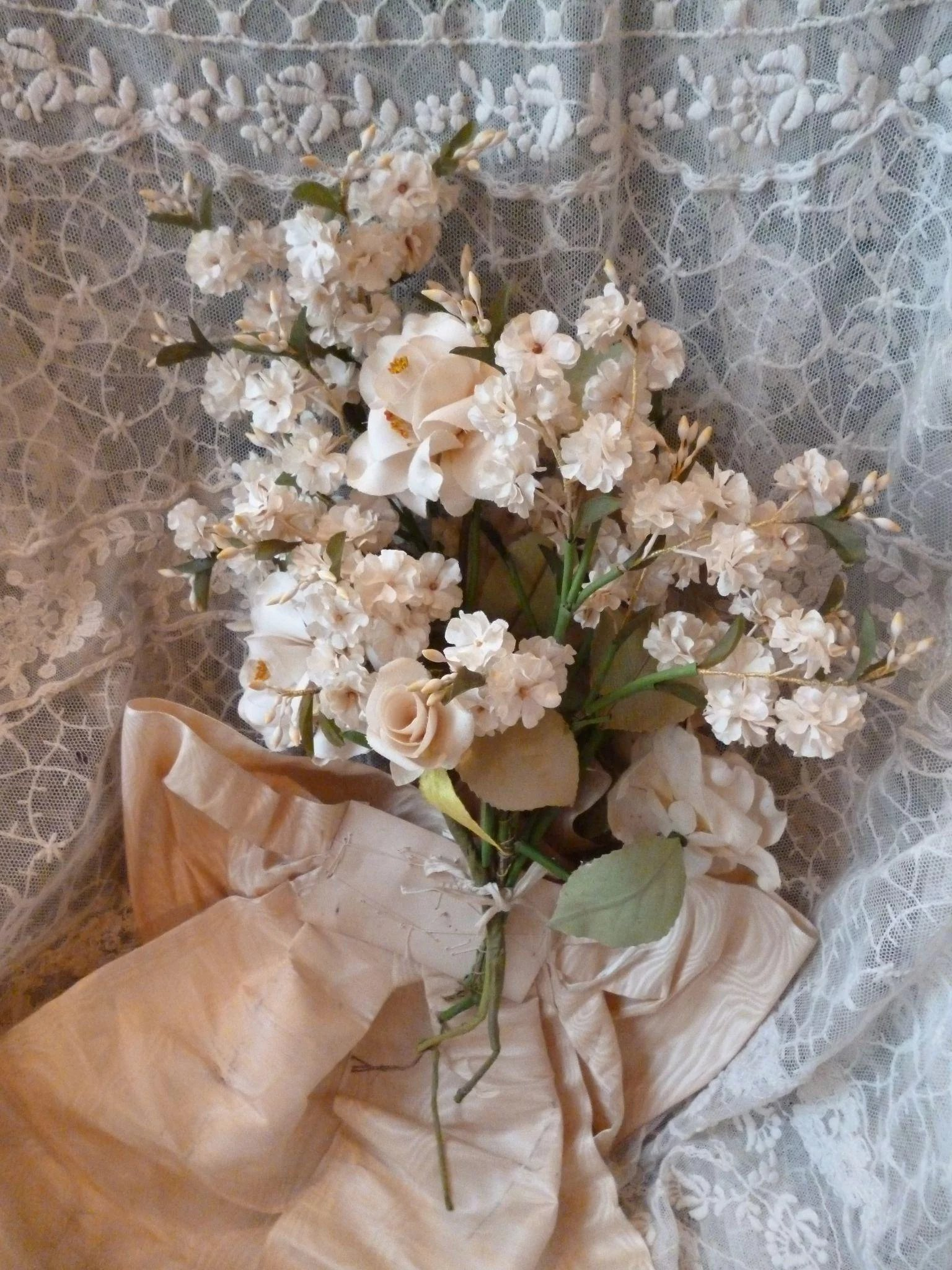 Beautiful old french artificial flower bouquet large moire bow click to expand izmirmasajfo