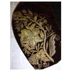 Sumptuous early 19th C. antique ladies brown velvet cap : gold metallic hand embroidery : chenille passementerie