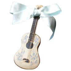 Rare miniature guitar shaped silk covered candy container floral motifs : perfect doll accessory