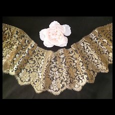 Rare vintage French gold metallic thread lace : unused : old stock :  5 1/2 inches wide