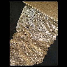 Rare EXTRA WIDE French gold metallic thread lace : unused : old stock :  24 inches wide
