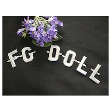 Vintage French repousse aluminium monogram letters : FG DOLL : old shop stock : doll projects