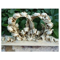 Delicious antique French patinated  wooden pediment : ribbon bow and rose motifs : projects