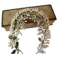 Elaborate French bride's wax wedding crown : tiara : antique period display