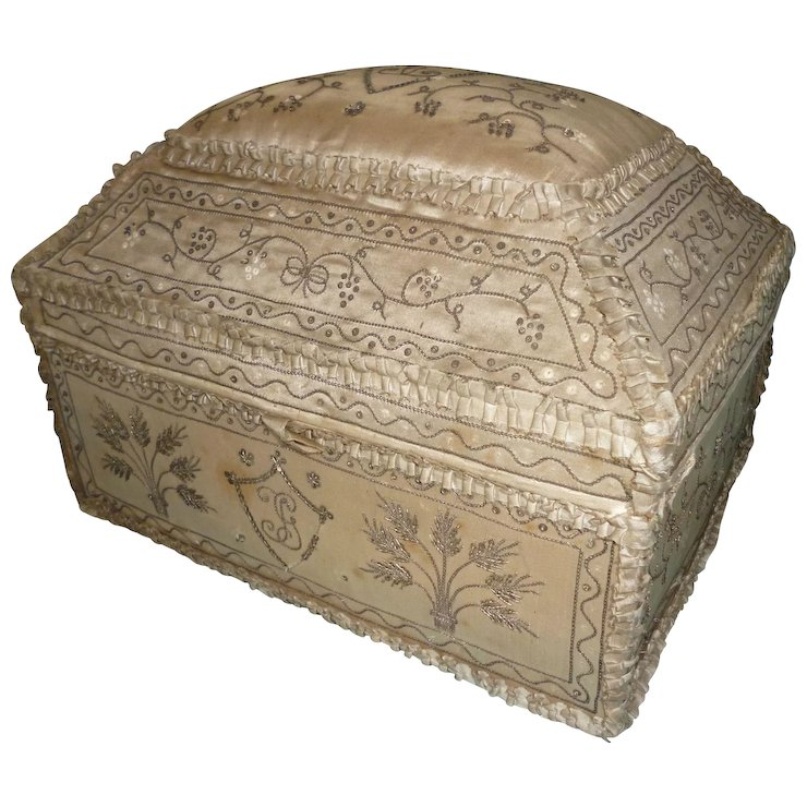 Exceptional 18th C French Silk Wedding Marriage Box Monograms Silver Metallic Embroidery