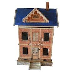 Charming rare antique Morizt Gottschalk blue roof dolls house
