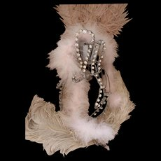 Superb 1920's  French cabaret : theater : stage show girl headdress : metal and paste stones