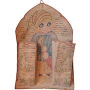 Fun hand made French children's wall pocket tidy circa 1920's