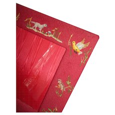 Decorative French red needlepoint tapestry old photo frame : dog : duck : pheasant : bird motifs