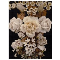Beautiful 19th C. French wedding vase : porcelain bisque floral bouquet :  roses : rosebuds