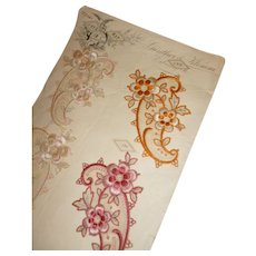 Delicious unused silk and silver metallic thread embroidery embellishment motifs on sample card