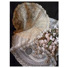 2 large decorative French hand made Normandy lace round table centre pieces : doilies