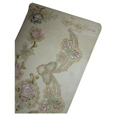 Delicious unused silk and silver metallic thread embroidery motifs : pink tones : sample card