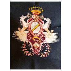 Striking needle work  Armorial wool tapestry panel : crown: attic find : circa early 1900's