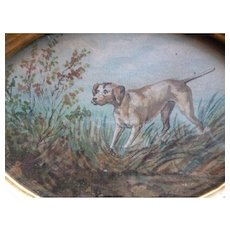 Charming vintage French framed water color painting : pointer hunting dog : dated 1961