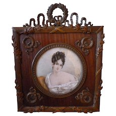 Ornate 19th C. French bronze & wood mat photo frame : Empire style : portrait miniature : wreath motifs
