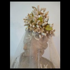 Utterly delicious 19th C. French bride's large wax wedding crown : period display
