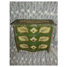 Faded grandeur French hand painted miniature chest of drawers : fashion doll size : lily of the valley motif